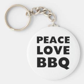 Peace Love BBQ Key Ring