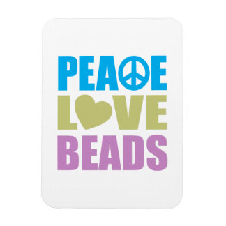 Peace Love Beads Rectangular Photo Magnet