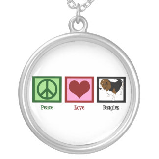 Peace Love Beagles Silver Plated Necklace