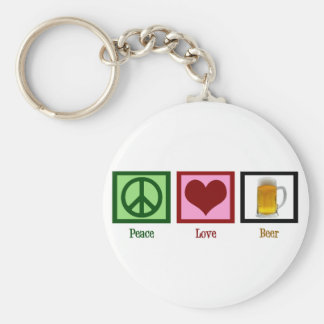 Peace Love Beer Basic Round Button Key Ring