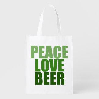 Peace Love Beer Reusable Grocery Bag