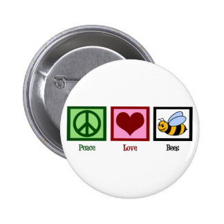 Peace Love Bees 6 Cm Round Badge