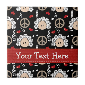 Peace Love Beethoven Ceramic Tile Trivet