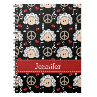 Peace Love Beethoven Spiral Notebook Journal