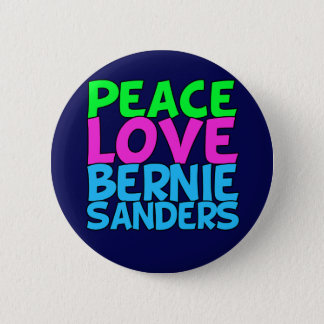 Peace Love Bernie Sanders (blue) 6 Cm Round Badge