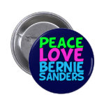 Peace Love Bernie Sanders (blue) 6 Cm Round Badge