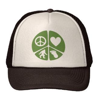 Peace Love Bigfoot Trucker Hat