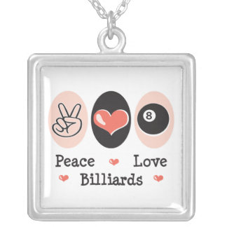 Peace Love Billiards Sterling Silver Necklace