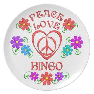 Peace Love Bingo Plate