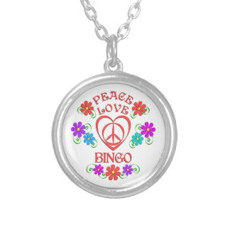 Peace Love Bingo Silver Plated Necklace