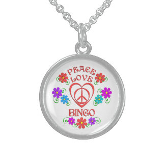 Peace Love Bingo Sterling Silver Necklace