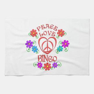 Peace Love Bingo Tea Towel