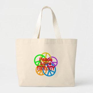 Peace Love Biology Large Tote Bag