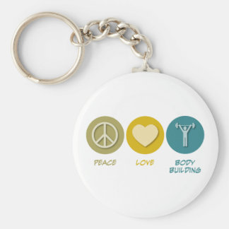 Peace Love Body Building Basic Round Button Key Ring