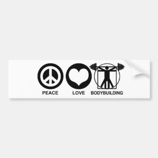 Peace Love Bodybuilding Bumper Sticker