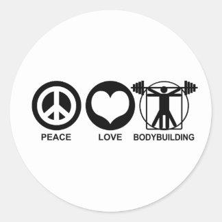 Peace Love Bodybuilding Round Sticker