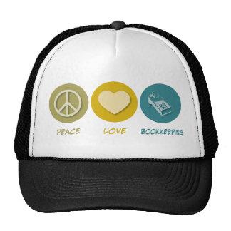 Peace Love Bookkeeping Trucker Hats