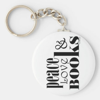 Peace Love Books Basic Round Button Key Ring