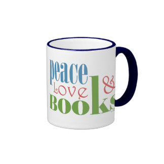 Peace Love Books II Ringer Mug