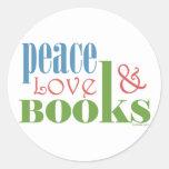 Peace Love Books II Round Sticker