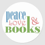 Peace Love Books II Round Stickers