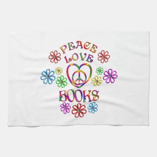 Peace Love Books Tea Towel