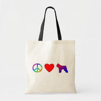 Peace Love Bouvier des Flandres Tote Bag