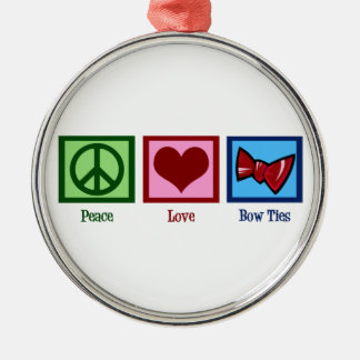 Peace Love Bow Ties Metal Ornament