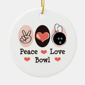 Peace Love Bowl Bowling Ornament