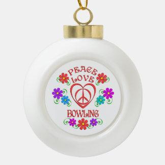 Peace Love Bowling Ceramic Ball Christmas Ornament