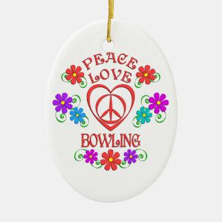 Peace Love Bowling Ceramic Ornament
