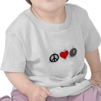 Peace Love Bowling Emblem T Shirt