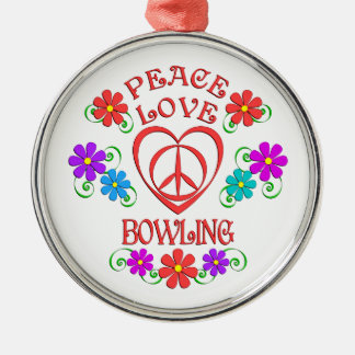 Peace Love Bowling Metal Ornament