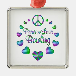 Peace Love Bowling Metal Ornament