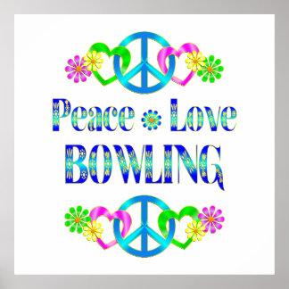 Peace Love Bowling Print