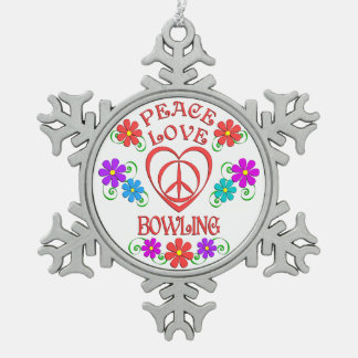 Peace Love Bowling Snowflake Pewter Christmas Ornament