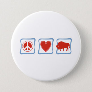 Peace Love Buffalo squares 7.5 Cm Round Badge