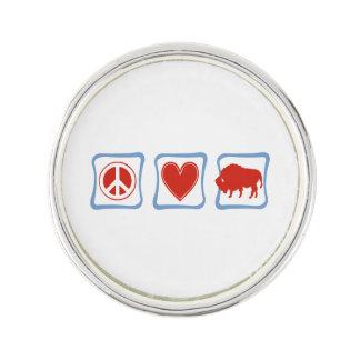 Peace Love Buffalo squares Lapel Pin