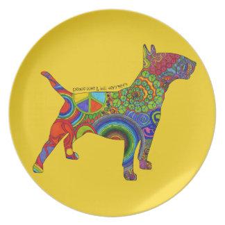 """Peace Love & Bull Terriers"" Pop Art Plate"