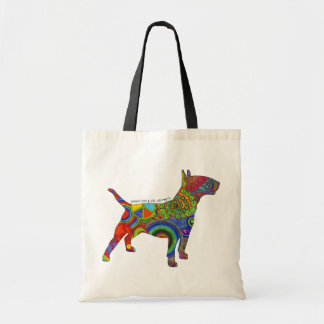 """Peace Love & Bull Terriers"" Pop Art Tote Bag"