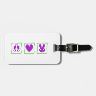 Peace Love Bunnies squares Luggage Tag