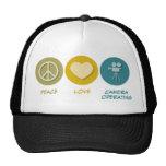 Peace Love Camera Operating Trucker Hat