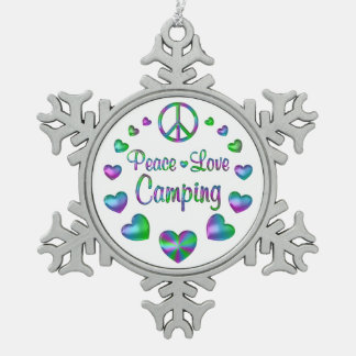 Peace Love Camping Snowflake Pewter Christmas Ornament