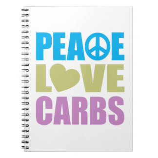Peace Love Carbs Spiral Note Book