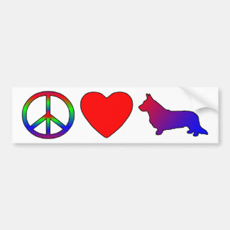Peace Love Cardigan Welsh Corgis Bumper Sticker