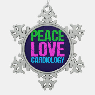 Peace Love Cardiology Snowflake Pewter Christmas Ornament