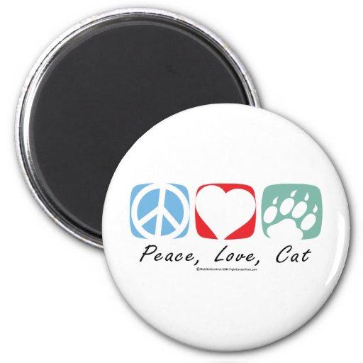 Peace Love Cat Refrigerator Magnet