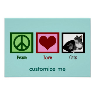 Peace Love Cats Cute Teal Poster