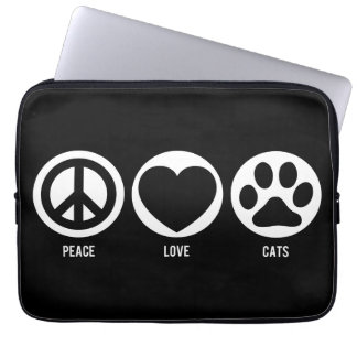 Peace Love Cats Neoprene Laptop Sleeve