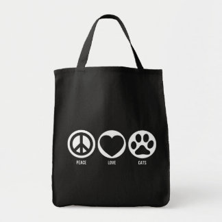 Peace Love Cats Tote Canvas Bag